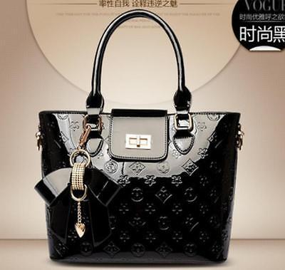 Embossed Fashion Tote - Women's fashion Satchel Handbag patent Faux  leather Embossing tote shoulder bag