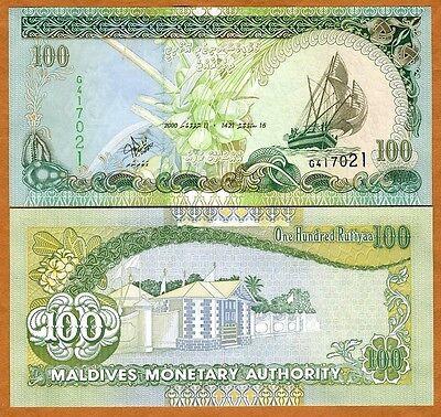 Maldives  100 Rufiyaa  2000  P 22  22B   Unc