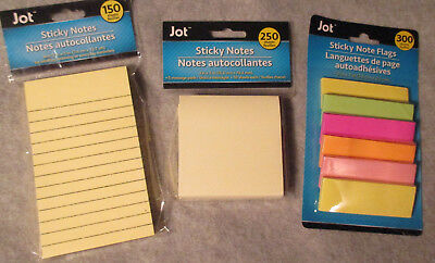 Lot Of 3 - Sticky Notes - 300 Flags 250 3x3 Square 150 3x5 Lined Yellow New