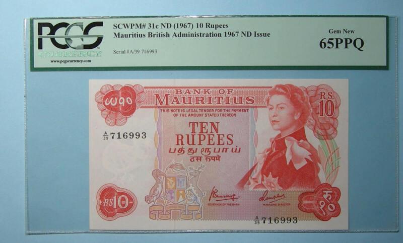 1967 MAURITIUS 10 RUPEES 31c PCGS MS65PPQ INV#PM110-6