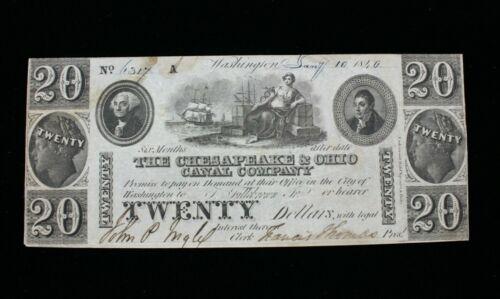 1840 District of Columbia, Washington $20 Note Chesapeake & Ohio Canal Company