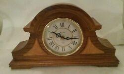 Bulova Two Tone Wood Mantel Clock Chime Quartz B1818