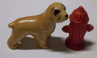 Vintage 1950's Hagen Renaker Cocker Spaniel & Red Fire Hydrant U.S.A. VGC, used for sale  Tomahawk