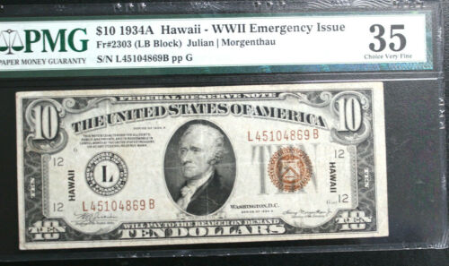 FR 2303 1934-A $10 HAWAII WWII EMERGENCY NOTE LB BLOCK PMG 35 CH VERY FINE NICE