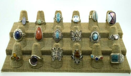 Lot of 18 Sterling Silver Multi Gemstone & Statement Rings Bands Various Sizes