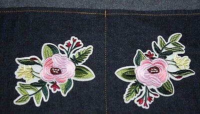 2 x Flower Embroidery Sew, Iron On Patch for Clothes, Jeans Fabric Applique DIY