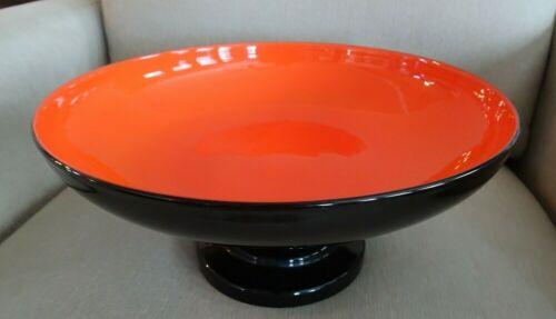 "12"" HTF 1930s KRALIK TANGO Glass ORANGE & BLACK Centerpiece Footed Bowl CZECH"