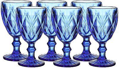 Blue Wine Glasses ( 6pcs Blue Diamond Glass Wine/Water/Beverage Drinkware)