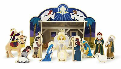 Melissa Doug Classic Wooden Christmas Nativity Set With 4-Piece Stable and 11
