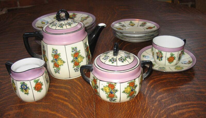 Vintage 15 Pc Floral Porcelain Tea Set Bavaria Lavender Teapot Creamer Sugar +