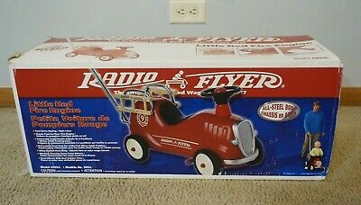 Radio Flyer Metal Red Ride-On Fire Engine No 9 Model 909L w/ Push Bar - (Radio Flyer Fire Engine No 9 Model 909)
