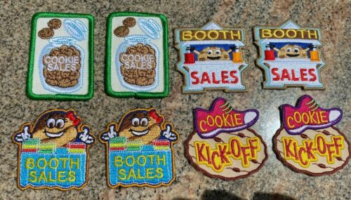 LOT OF 8 GIRL SCOUT COOKIE BOOTH SALES PATCHES 4 STYLES! CUTE COOKIES! UNUSED!