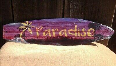 Paradise Surf Sign - Paradise Palm Tree Purple Mini Novelty Beach Surf Board Sign 17