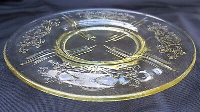 1930's Yellow Depression Glass US Glass Primo Paneled Aster Saucer