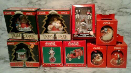 9 Loose COCA~COLA COKE TRIM-A-TREE Christmas Tree Ornaments Santa Polar Bear