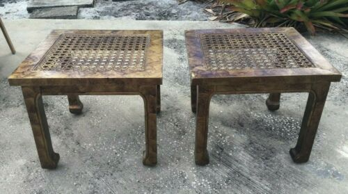 PAIR VINTAGE CHINESE STYLE WOOD STOOLS OR END TABLES