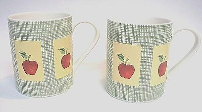 Corelle Apple Harvest Green Woven Coffee Mugs Cups 2