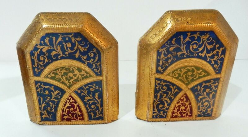 Small Pair of Beautiful Vintage Italian Gilt Toleware Bookends