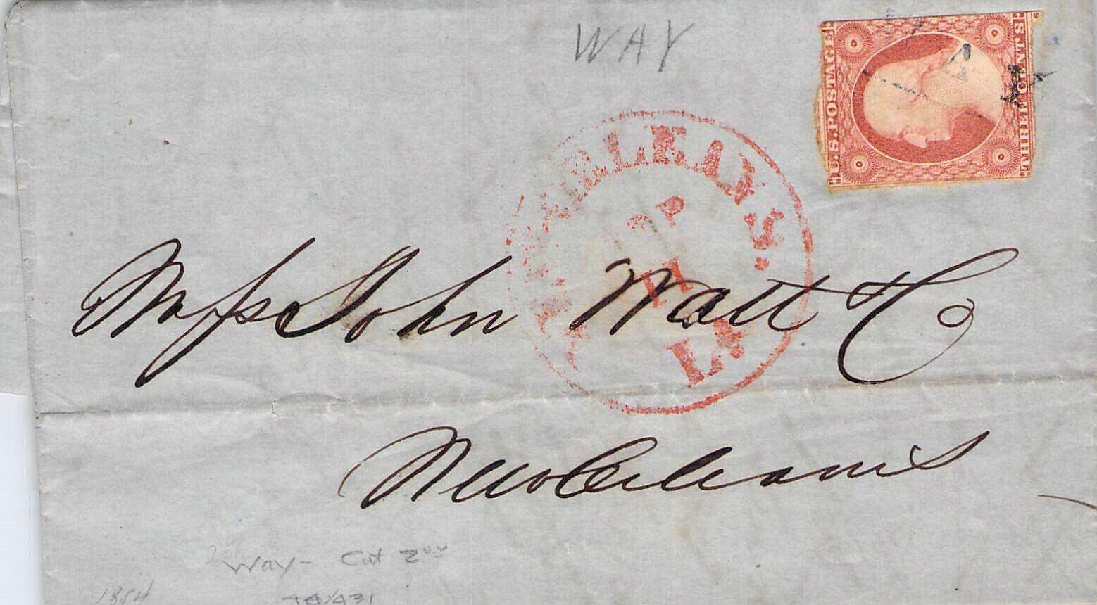 1854 CORRESPONDENCE NEW ORLEANS LA CRAZY COOL CANCEL POSTAL HISTORY