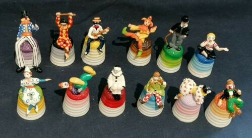PEWTER HAND PAINTED THIMBLES FULL SET - CAVALCADE OF CLOWNS