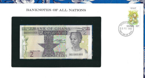 Banknotes of All Nations Ghana 1982 2 Cedis  P18d UNC REPEATER BG0966966