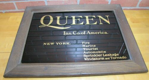 QUEEN INSURANCE CO OF AMERICA NEW YORK ROG Antique Advertising Sign Glass Wood