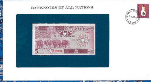 Banknotes of All Nations Somalia 1983 5 Shillings P31a UNC Serie D.007