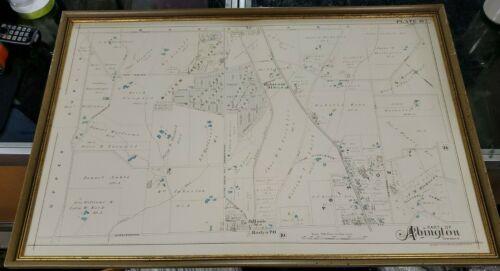 1897 A. H. Mueller & Co Framed Map Abington Township PA Plate 13 Framed