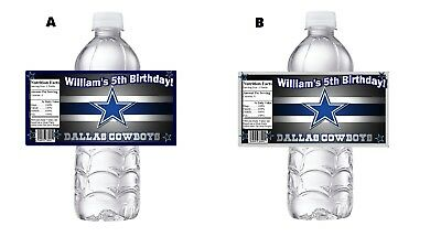 DALLAS COWBOYS CUSTOM BIRTHDAY PARTY FAVORS WATER BOTTLE LABELS WRAPPERS - Cowboys Party