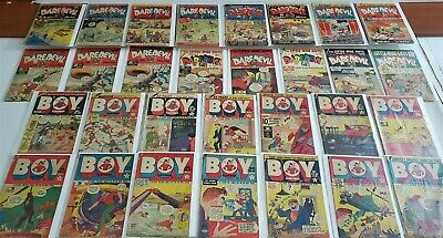 30 Golden Age Super Comic Lot CHARLES BIRO Books Daredevil Boy Illustories