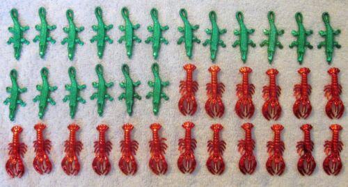 "3 Dozen (36 ) MIX- ""18 pcs RED CRAWFISH & 18 pcs GREEN ALLIGATOR TRINKETS"" 70mm"