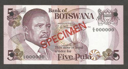 Botswana 5 Pula N.D. (1982); AU+; P-8s1, L-B108as; SPECIMEN; Gemsbok Antelope