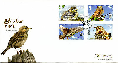 Guernsey 2017 FDC Meadow Pipit WWF Endangered Species 4v Set Cover Birds Stamps