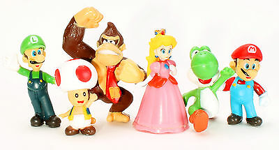 Party Figure - Super Mario 6 pcs Birthday Party Mini Figures Set: Mario Luigi Peach Toad Yoshi