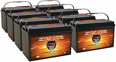 Qty8 12 Volt 125ah Slr125 Solar Agm Sla Batteries Deep Cycle Vrla Heavy Duty Agm