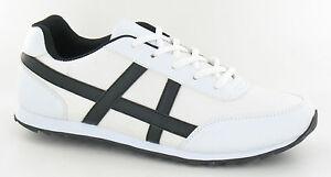 Hombre-Blanco-Casual-Con-Cordones-Zapatillas-a2109