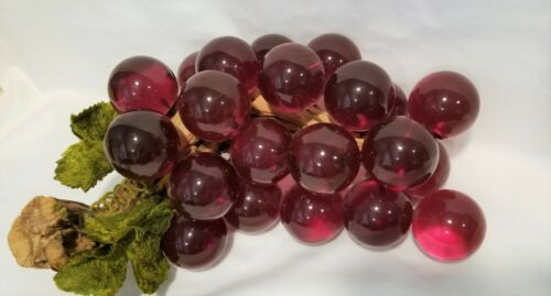 Vintage Red lucite grape cluster on driftwood velvet leaves