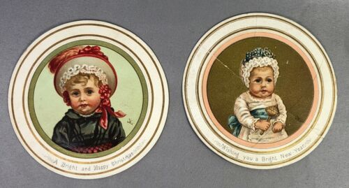 c 1900 CHRISTMAS Circle Child Victorian ANTIQUE Card
