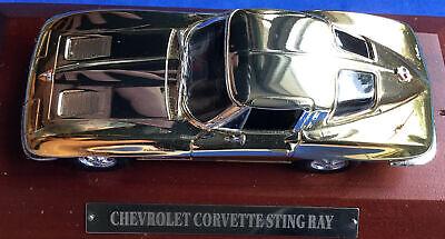 1:43 UNKNOWN MAKER CHEVROLET CORVETTE STINGRAY GOLD SILVER TONE DIECAST CAR MINT