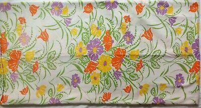 "VTG Table Cloth DAVID and DASH Inc Fabric Retro Flower Power Homemade 85"" X 84"""