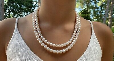 8-10mm Graduated 2 Strand Freshwater Pearl Necklace and Earring Set Graduated Freshwater Pearl Necklace
