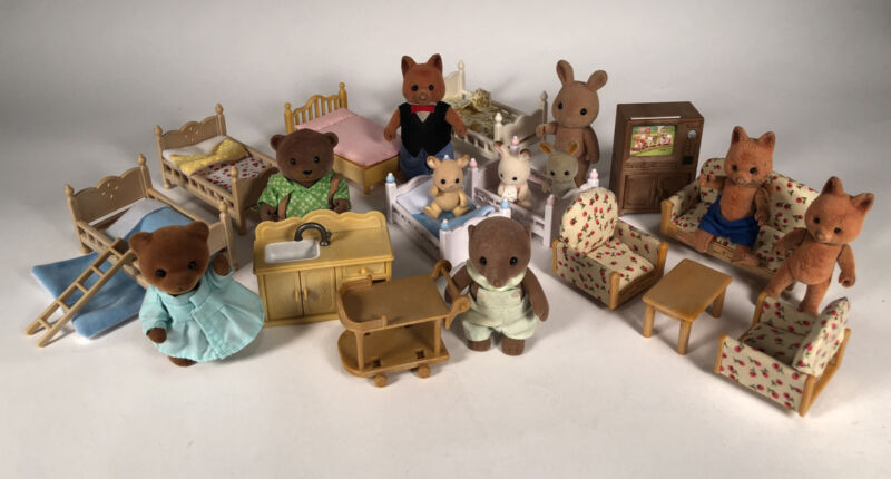 Vintage Sylvanian EPOCH Calico Critters Woodeez LOT Mix Animals Babies Furniture