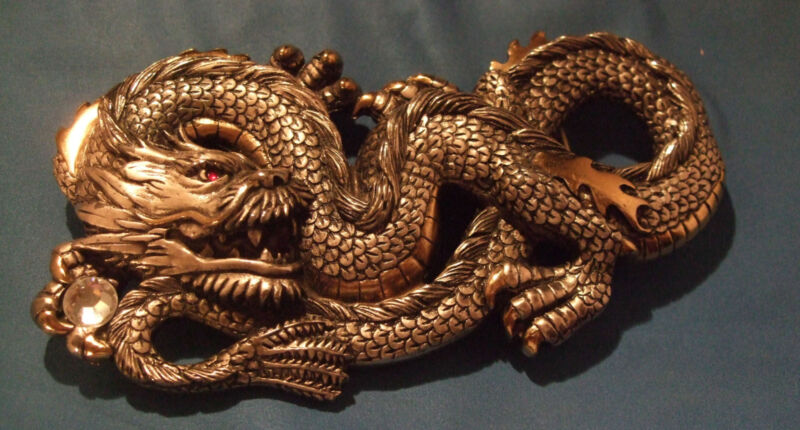 HUGE SERPENTINE CHINESE SOLID BRASS DRAGON BERGAMOT 2006, MUST SEE!