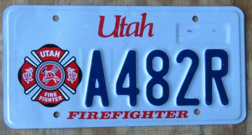 UTAH FIRE FIGHTER license plate  2012   A482R