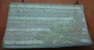 Vintage pale green vinyl beaded handbag Mandarini 44in chain strap