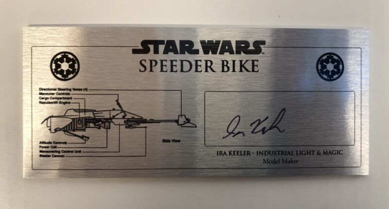 Star Wars Speeder Bike specs Signed Plaque 3x7 Ira Keeler Beckett COA