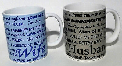 HUSBAND and WIFE Coffee Mugs 12 floz Quotes Love Best Friend Life (Set of