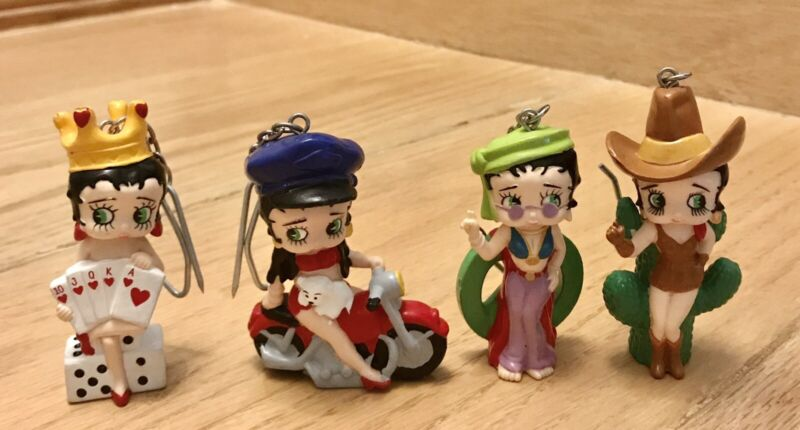 COLLECTIBLE BETTY BOOP LOT OF 4 STANDING OR HANGING RESIN FIGURES