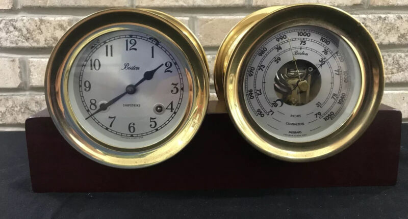 "VTG CHELSEA SHIPSTRIKE CLOCK & BAROMETER SET 4-1/4""  BRASS MARITIME NAUTICAL"