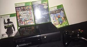 XBOX 360 WITH GAMES AND CONTROLLER AND MIC